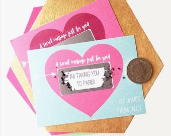 Secret Message Heart Scratch Card