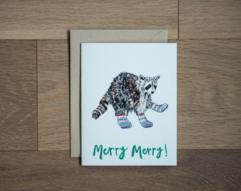 Holiday greeting card, funny card, holiday cards, raccoon card, illustrated holiday