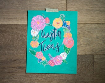 Austin print - austin texas - austin art - city print - hand lettered - handmade -fine art print