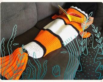 Kids or Adult Clown Fish Tail Crochet Afghan Blanket Sack