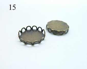 20pcs 15mm Antique  Bronze  Brass lace  Cameo Cabochon Base Setting Pendants c4824