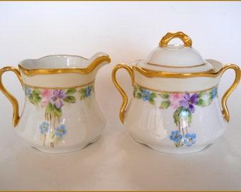 Antique Bavarian Porcelain  Creamer/Sugar Bowl Hand Painted Flowers/Gold