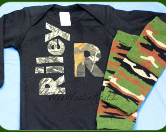 Newborn Personalized Boy CAMO Outfit with Beanie Hat Leg Warmers Baby Shower Coming Home Set