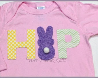 Girls Easter Shirt- Bunny Applique- HOP Boys Marshmellow Rabbit Personalized