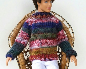 Ken Doll Sweater. Hand knit.  Long Sleeves. Stripes: red, dark green, purple. Pullover but easy on. Barbie and Ken. Hand knit. OOAK