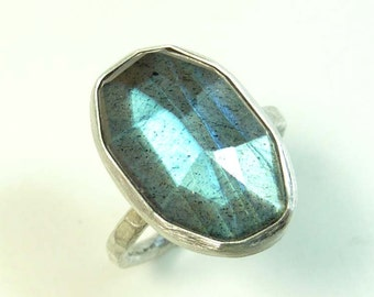 Labradorite and sterling silver with flashes of blue