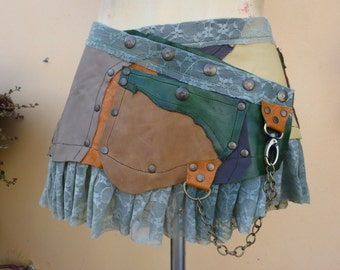 """20%OFF vintage inspired leather skirt with pocket and lace...30"""" to 38"""" waist or hips.."""