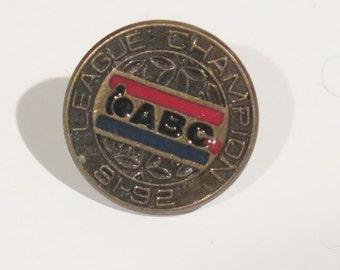 Bowling Award Pin - ABC - League Chapmion - 1981 - 1982 - Bronze-Goldtone Color - Michigan Bowling