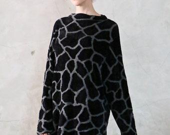 sweater, knit jumper,oversized 90s black and grey giraffe animal pattern chenille knit sweater, long, minimal, womens