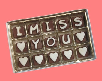 Long Distance Relationship Gift for Boyfriend Friendship Gift for Best Friend Gift for BFF I Miss You Custom Name Cubic Chocolate Letters