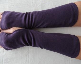 Purple Jersey Fingerless Gloves, Jersey Arm Warmers, Texting Gloves, Driving Gloves, Cycling Glove, Hand Warmers, Biking Glove, Jersey Mitts