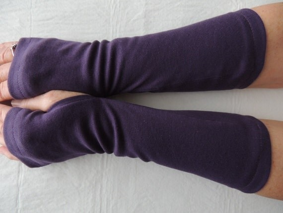 Purple Jersey Fingerless Gloves, Jersey Arm Warmers, Texting Gloves, Driving Gloves, Cycling Glove, Hand Warmers, Biking Glove, Jersey Mitts