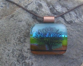 Copper Tree Necklace Fused Dichroic Glass Tree Pendant