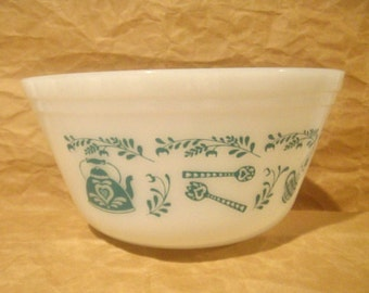 Federal Milk Glass Mixing Bowl, American Homestead Pattern, 2 quart Capacity, Turquoise Color Kitchen Decor,