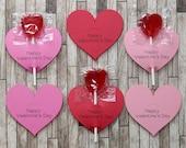 Valentine Heart Sucker Lollypop Holders, Children's Classroom Valentine Favors - Set of 30