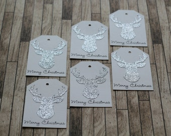Rustic Silver Deer Head Silhouette Christmas Gift Tags - Set of 6
