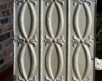 "12"" Antique Tin Ceiling Tile -- Chippy Metallic Gold Paint - Pretty Design"