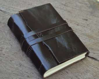 "One of a Kind / Leather Journal / Handmade / Diary / 6""X4"""