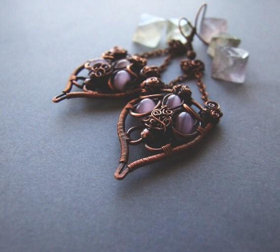 Bohemian Dangle Earrings, Rustic Elvish Drop Earrings, For Her, Retro Dangle Earrings