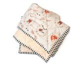 WOODLAND FRIENDS - baby blanket - toddler comforter - baby crib blanket - modern crib bedding