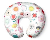 Floral nursing pillow cover- POPPIES - pink coral nursing pillow cover- breastfeeding pillow cover- baby girl bedding floral