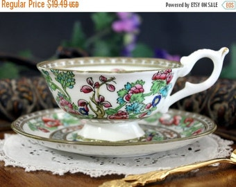Coalport Teacup, Indian or India Tree, Scalloped Footed Cup and Saucer, Vintage Wide Mouthed Teacup 13293