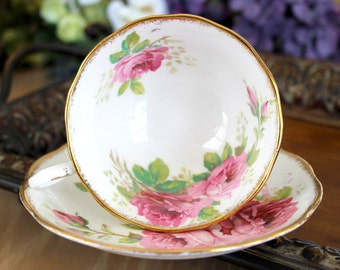 Royal Albert,  American Beauty, Vintage Teacup, Tea Cup and Saucer