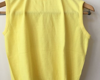 vintage old school tennis fitted bright yellow sleaveless top