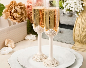 Personalized Vintage Antique Wedding Toasting Champagne Flutes with Engraving Glasses Romantic Keepsake Ivory