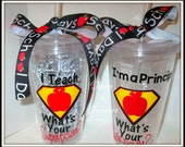 I teach. What's Your Superpower? Personalized Teacher Gift-Double-Wall Insulated Tumbler Cup