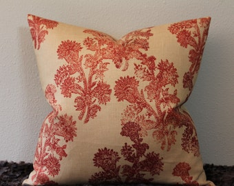 """Duralee Pushpa Floral Print- in SAFFRON/ a Deep Rusty Red and Natural - 16, 18"""", 20"""", 22"""" and 24"""" Square Pillow Covers"""