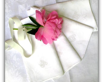 Antique French Linen Large Napkins - Heirloom Quality Linens - Paris Brocante Style
