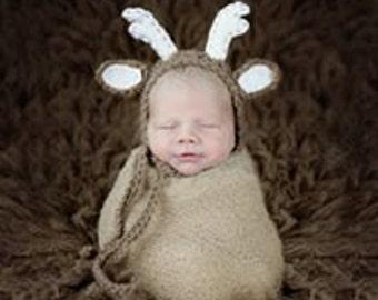 Newborn or 0-3 months   baby Deer crochet  bonnet  Newborn photo props photography boy girl