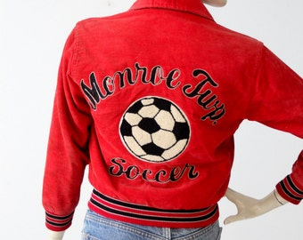 1980s soccer jacket, vintage red corduroy coat, school sport jacket