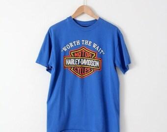 SALE vintage 80s Harley Davidson t-shirt, large blue motorcycle tee