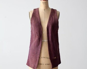 SALE 1960s purple suede leather vest, vintage hand made hippie vest