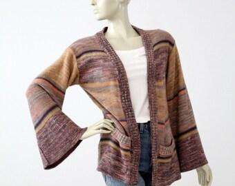1970s hippie cardigan sweater, vintage boho knit jacket