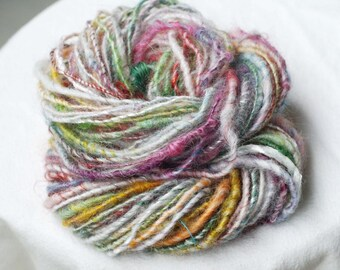 Handspun Corespun Yarn - Romney, Kid Mohair, Silk, English Leicester, Art Yarn, Hand Dyed, Hand Carded from Raw Wool,  45 yards