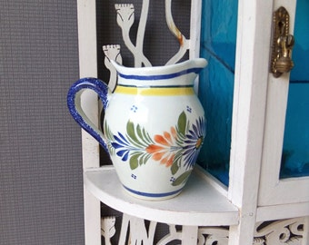 French Vintage Hand Painted  QUIMPER style Milk Jug