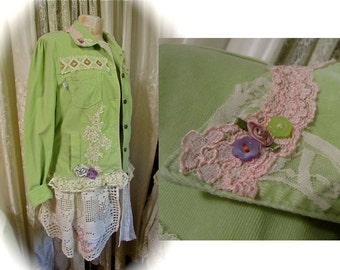 SALE Lime green jacket, Festive, Refashioned, altered shabby cottage chic upcycled vintage doily lace, asymmetric hem romantic clothes LARGE