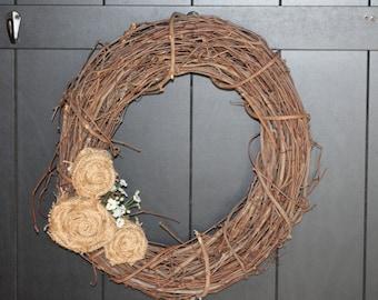 Small burlap rosette wreath