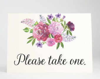 Please Take One, Wedding Signage, Bridal Shower, Party Decoration, Reception, Buffet Sign, Favors - Garden Blooms, Size 5 x 7, Printed Sign