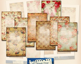Tags 128 Floral Postcards 4x6 inch Digital Collage Sheet printable sheet graphic design for paper craft cards tags Vintage flowers