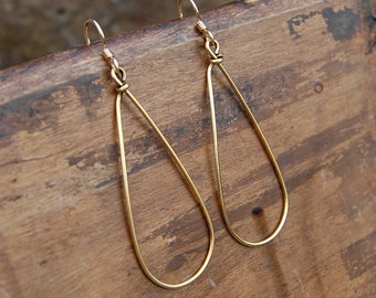 Wire Wrapped Tear Drop Hoop Earrings in Gold, Silver or Copper