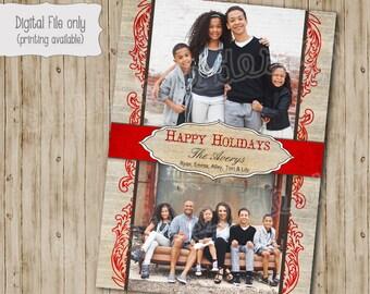 Christmas Photo Card - Customized, DIY Printable, Holiday- Rustic Happy Holidays
