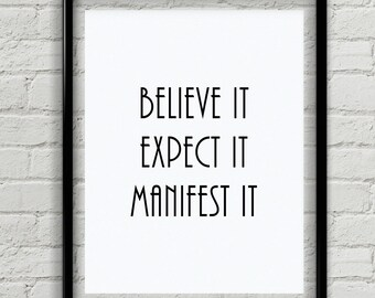 Believe Quote - Manifesting Quote - Canvas Wall Art - Inspirational Poster - Inspirational Gifts For Girls - Home Decor - Black And White