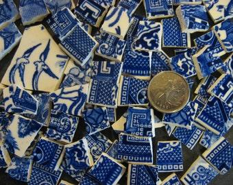 Original Blue Willow Mosaic Broken China Tiles  ~ SHIPPING SPECIAL ~