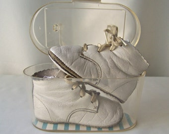 Vintage Leather Baby Shoes Original Plastic Box 1950s Retro Baby Shower Photo Prop Studio Display