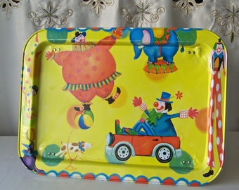 Vintage Childs TV Tray Clown Lap Tray Folding Tray Bright Yellow Childs Metal Tray 1970s