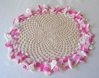 Vintage Crochet Doily Pink Variegated Trim Grandma's Doily 1960s